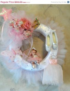 Celebrate recital and competition season ! ON SALE 20 Dollars OFF Pink and White Tutu by HungUpOnWreaths, $79.00