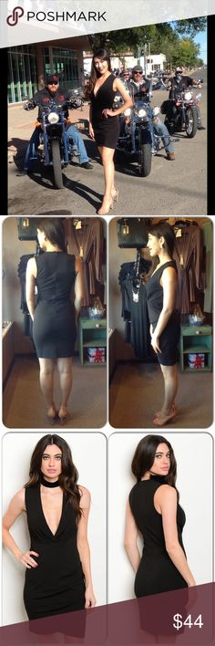Black Cocktail Dress This sleeveless body con dress features a plunging neckline and side ruching. Nice thick knit material. Perfect holiday dress! 95% Polyester, 5% Spandex (This closet does not trade or use PayPal) Cals Dresses Mini