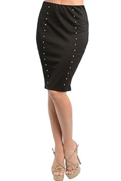742116ca3f 2LUV Womens Stud High Waist Pencil Skirt Black MSK980 * Be sure to check  out this