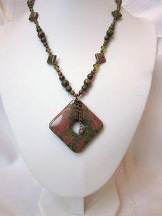 Unakite Necklace with Square Pendant