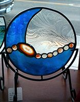 RIVER: Stained glass mandala with Brazilian Agate and nuggets.
