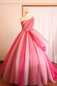 Chic A-line One Shoulder Ombre Prom Dresses Tulle Pink Long Prom Dress Evening Dress, Prom Dresses Long Pink, Tulle Prom Dress, Ball Dresses, Pretty Dresses, Beautiful Dresses, Ball Gowns, Evening Dresses, Dress Long, Pink Wedding Gowns