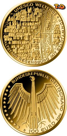 N♡T.100 euro: UNESCO Welterbe – Altstadt Regensburg mit Stadtamhof Country: Germany Mintage year: 2016 Face value: 100 euro Diameter: 28.00 mm Weight: 15.55 g Alloy: Gold Quality: Proof