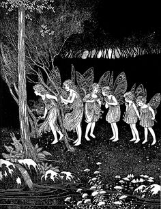 Then the Fairies came. Illustration by Ida Rentoul Outhwaite from 'The Little Green Road to Fairyland' (1922)