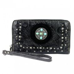 """Size: 7.5*1*4 """" Re- attachable wristlet strap Beautifull Turquosie western cross Zip around entry to entire wallet Zippered and open pocket on the back Inside cotton lining, 4 compartments, one zipped Back and front walls inside the wallet have 4 cc and slip pocket Silver Fever is an authorized retailer of Montana West   Montana Westis more than a handbag, it's an attitude!  Whether you are a country girl at heart or a city girl..."""