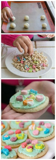 Lucky Charms Sugar Cookies - just frost and top with Lucky Charms marshmallows!
