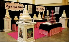 This is a very nice booth for a wedding cake vendor at a bridal show