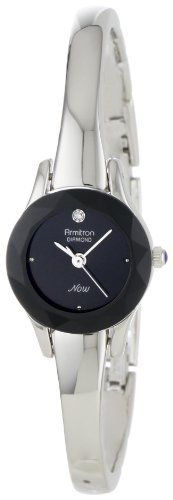 Armitron Women's 75/2433BLK Diamond-Accented Silver-Tone Bangle Watch #deals