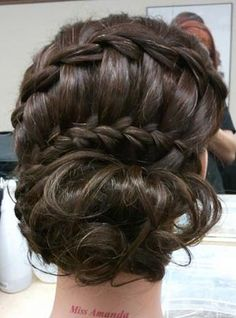 double waterfall braid ending in a bun step by step tutorial with pictures translate from Russian