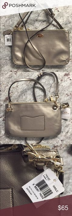 Coach Crossbody Bag LYLA DOUBLE GUSSET CROSSBODY IN PEBBLE LEATHER COACH STYLE #F53157 COLOR LIGHT GOLD/METALLIC Coach Bags Crossbody Bags