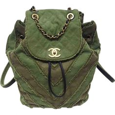 Pre-owned Chanel Backpack ($4,225) ❤ liked on Polyvore featuring bags, backpacks, khaki, preowned bags, green backpack, knapsack bag, khaki green backpack and chanel