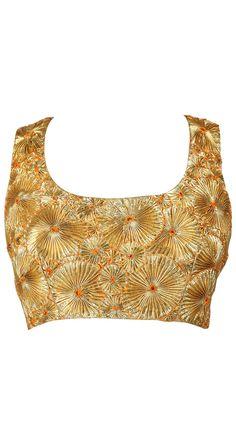 Gota patti visit for similar designer blouse at… Indian Dresses, Indian Outfits, I Love Fashion, Indian Fashion, Embroidery Suits Punjabi, Back Neck Designs, Lehenga Blouse, Beautiful Blouses, Saree Blouse Designs