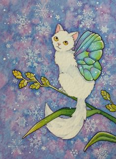 ACEO Cat Fairy catterfly snow snowflake MOUSSART SFA fantasy art winter kitty  #cute