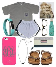 """Summertime"" by jadenriley21 ❤ liked on Polyvore featuring Birkenstock, Kate Spade, Kendra Scott, Fitbit, S'well and Ray-Ban"