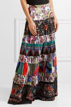 Roberto Cavalli - Tiered Printed Cotton-voile Maxi Skirt - Purple - IT