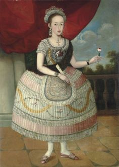 Unknown (Lima School, latin american colonial art), Portrait of a Young Woman , ca. late 18th century, Oil on canvas, 54 3/4'' x 39 1/4'', Museum purchase, Funded by Wellesley College Friends of Art, 2011.17 https://www.davismuseum.wellesley.edu/explore-the-collection/recent-acquisitions/portrait-of-a-young-woman