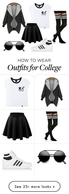 """kawaii weirdo"" by be-my-dark-night on Polyvore featuring Illustrated People and adidas Originals"