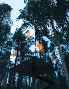 A mirrored treehotel in Harads, Sweden, by Tham & Videgård Arkitekter disappears amid the forest.