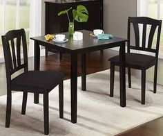 3 Piece Dining Set Small Apartment Kitchen Table Home Bistro Chairs Furniture  #3PieceDiningSet