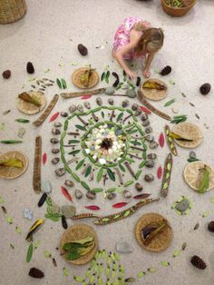 """Large-scale mandala, created using natural items - from The Learning Caravan ("""",)"""