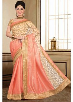 Peach blended tussar saree with trendy gold zari border-SR9967