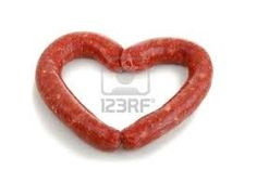 Bake the sausage, Fill the middle with mashed potatos or mashed cauliflower, sprinkle paprika on top and wallaaa Valentines dinner~ This has been a Valentine tradition meal~