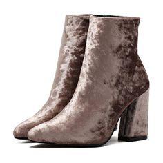 Velvet Flared Heel Ankle Boots