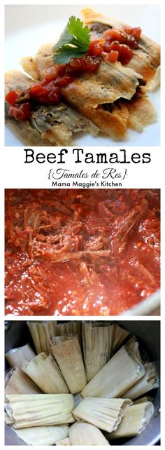 Beef tamales are amazingly delicious. Meaty and with just the right about of spicy flavors. They are a classic Mexican food that will be a favorite until the end of time. by Mama Maggie's Kitchen (Traditional Mexican Recipes) Tamale Meat Recipe, Meat Recipes, Cooking Recipes, Cooking Tips, Freezer Recipes, Lamb Recipes, Freezer Cooking, Recipies, Shredded Beef Tamales Recipe