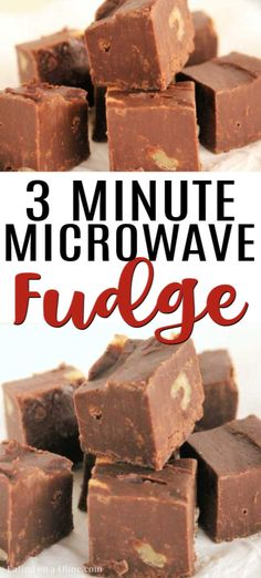 Here is the best microwave fudge recipe. This easy 3 ingredient fudge is so easy. Learn how to make fudge in the microwave. Recipes with few ingredients Best Microwave Fudge Recipe - Easy 3 Ingredient Fudge Köstliche Desserts, Delicious Desserts, Dessert Recipes, Food Deserts, Holiday Desserts, Holiday Treats, Dinner Recipes, Easy Microwave Fudge, Easy Fudge