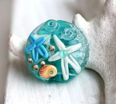 Beach bead handmade Lampwork glass Light teal by MayaHoney on Etsy, $14.00