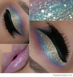 Rose, blue and more glitter makeup