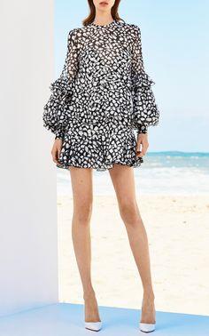 Elizabeth Black Silk Loose Ruffle Mini by ALEX PERRY for Preorder on Moda Operandi