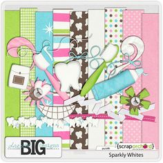 a list (with kit images) of SEVERAL different dentist/tooth fairy themed digital scrapbook kits