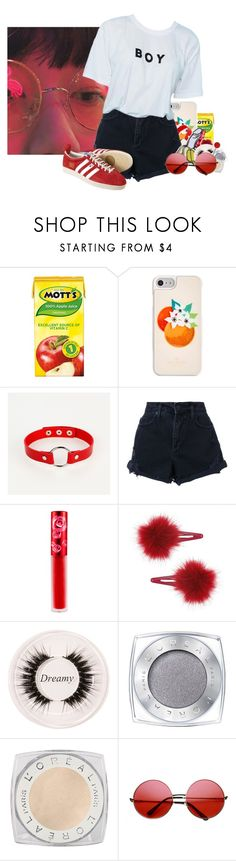 """""""Untitled #1070"""" by jaykitten123 ❤ liked on Polyvore featuring Kate Spade, Nobody Denim, Lime Crime, Topshop, Certifeye, L'Oréal Paris and INDIE HAIR"""
