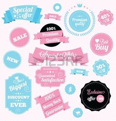 fashion shop stickers and ribbons Stock Vector