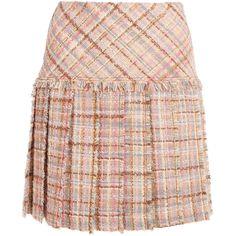 Miu Miu Pleated wool-blend tweed mini skirt (62.325 RUB) ❤ liked on Polyvore featuring skirts, mini skirts, pastel pink skirt, short pleated skirt, pink tweed skirt, short skirts and structured skirt