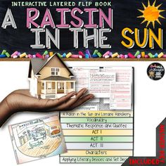 A Raisin in the Sun: Interactive Layered Flip BookEach flap is  inch and is ready for you to easily line up by using the directions on how to assemble the organizer. Includes:Literary Terms Chart fill in  terms and textual evidence (with answer key)Vocabulary by Act and Scene (with answer key)Guided Reading Questions (with answer key) Thematic Response (with answer key)Background on play, title, Langston Hughes poem, and Lorraine HansberryConflicts and Symbols (with answer key)Create a Set…