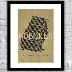 13 x 19 Hand-Drawn Vintage Hoboken Grid Map by TenTwelveDesigns