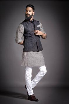 Grey is the color. India Fashion Men, Indian Men Fashion, New Mens Fashion, Mens Fashion Suits, Mens Indian Wear, Mens Ethnic Wear, Indian Groom Wear, Kurta Pajama Men, Kurta Men