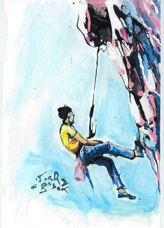 Mountain Climbing Picture, Rock Climbing Painting, Climbing Art, Sports Art, Original Painting, Sports Wall Art, Framed Art, Climbing Poster #cycling #Rugby #Winter Sports #Running #Sportscards #Sportspaintings #sportswallart #Original Paintings #GoshaGibekArt