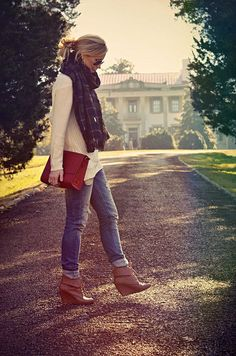 Skinnies, wedge booties, chunky sweater, scarf. Fall!