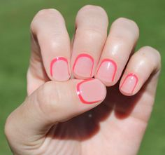 Reverse French Manicures are no longer just for the ambidextrous. Now you can just heat, stick and file your way to an awesome manicure. Neon Pink Outline Transparent Nail Wraps by SoGloss on Etsy