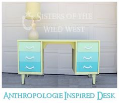Lime and teal ombre desk. Great idea with any set of colors