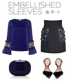 """Embellished Sleeves"" by styleskater7 ❤ liked on Polyvore featuring Fendi, SUNO New York, Nina Ricci, Jeffrey Levinson, outfit, Clutch, contestentry, hee and embellishedsleeves"