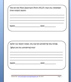 Exit Cards  - examples of questions that can be used