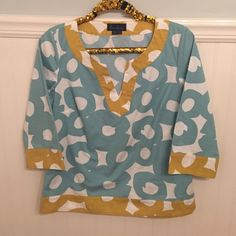"Boden Sz L Patterned 3/4 Sleeve Top EUC!  Boden   Patterned, 3/4 sleeve, v-neck top   Size 12 / Large   White, light blue, mustard yellow    Excellent used condition!    Bust: 20"" across the front, lying flat.    Length: 24"" from shoulder to hem.   ✳️ Bundle to Save 20%!  ❌ No Trades, Holds, PP   100% Authentic!    Suggested User // 800+ Sales // Fast Shipper // Best in Gifts Party Host!  Boden Tops"