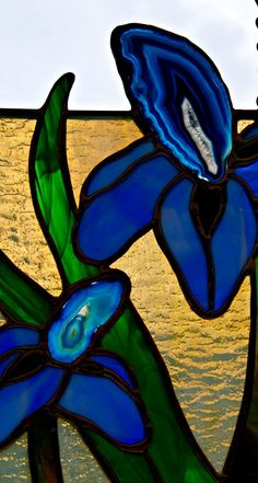 Your place to buy and sell all things handmade Hanging Stained Glass, Stained Glass Flowers, Stained Glass Patterns, Iris, Decoration Originale, Suncatchers, Mixed Media Art, Glass Art, Agates