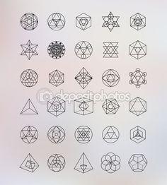 Geometría sagrada. Alquimia, religión, filosofía, espiritualidad, símbolos de hipster y elementos — Ilustración de stock #75332829