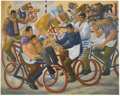 William Roberts (British, Bicycle Boys, Oil on canvas, 81 x 102 cm.