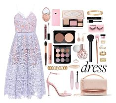 """""""Dreamy Dress - 2068"""" by thecaitlinpeters ❤ liked on Polyvore featuring self-portrait, Gucci, Eddie Borgo, Miss Selfridge, Erickson Beamon, Too Faced Cosmetics, MAC Cosmetics, Forever 21, NYX and NARS Cosmetics"""